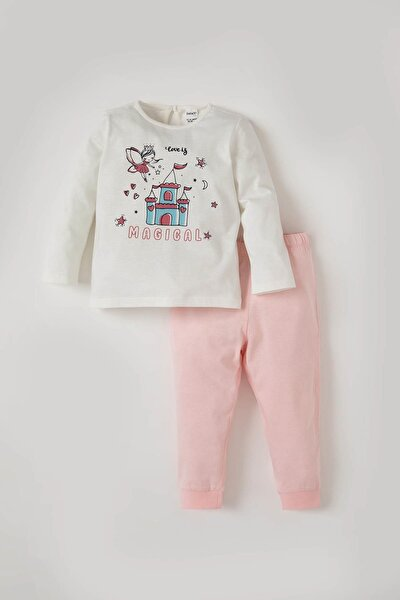 Kız Bebek Prenses Baskılı Pamuklu Pijama Takımı