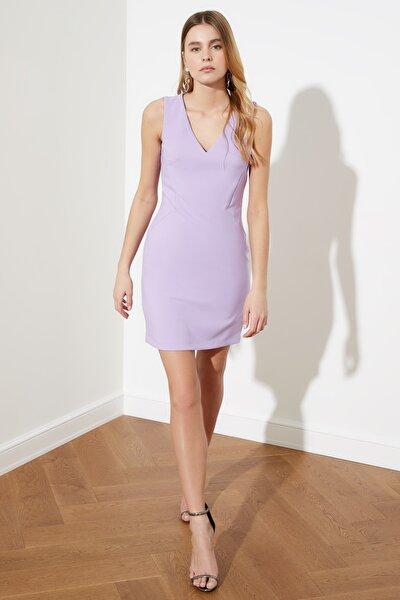 Lila V Yaka Basic Elbise TWOSS19AA0064