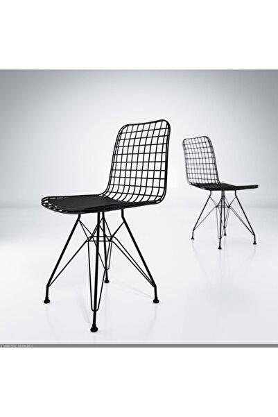 Siyah Kafes Ofis Cafe Bahçe Mutfak Tel Sandalyesi