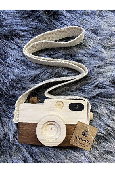 Ahşap Dekoratif Oyuncak Fotoğraf Makinesi - Kahverengi