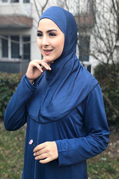 Kolay Giyilebilen Pratik Tek Parça Tesettür Boydan Namaz Elbisesi Indigo Mavi