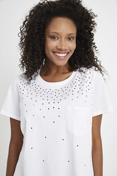 Kadın Beyaz Yırtık Detaylı  T-Shirt