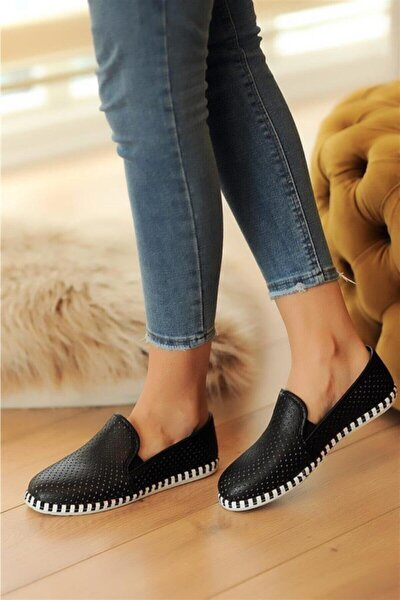 Siyah Deri Delikli Rahat Taban Casual Sneakers Ayakkabı Byndgur01