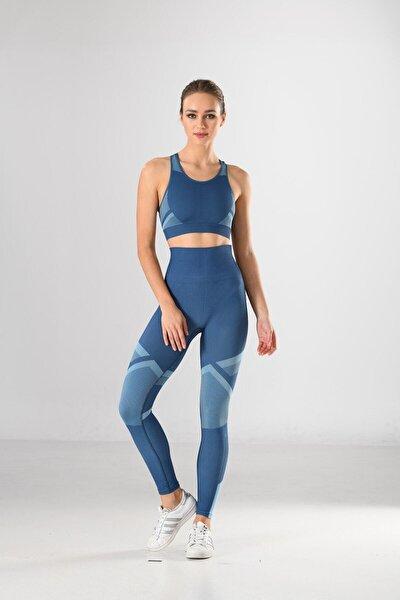 Kadın Mavi Iç Göstermez Günlük Kullanım Ve Spor Örme Seamless Dikişsiz Sporcu Tayt Ve Bustiyer Takım