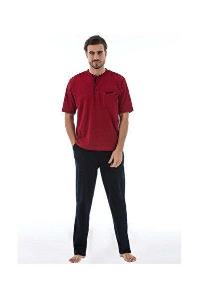 Erkek Bordo Penye Pijama Takımı