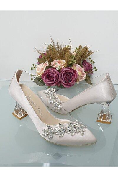 Şeffaf Ten Saten Yaprak Taş Şeffaf Topuklu Ayakkabı A135