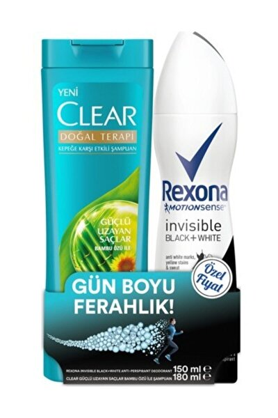 Kadın Deosprey Invisible Black + White 150 ml + Clear Şampuan Güçlü Uzayan Saçlar 180 ml