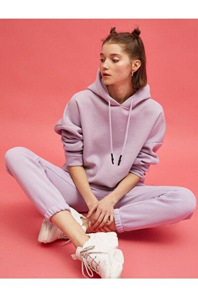 Kadın Mor Kapüşonlu Sweatshirt