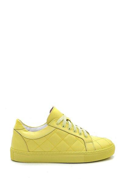 Kadın Sarı Deri Sneaker