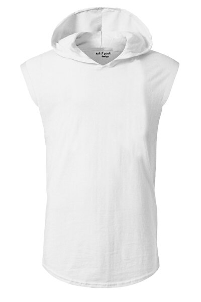 Unisex Beyaz Basic Kapşonlu Kolsuz T-shirt