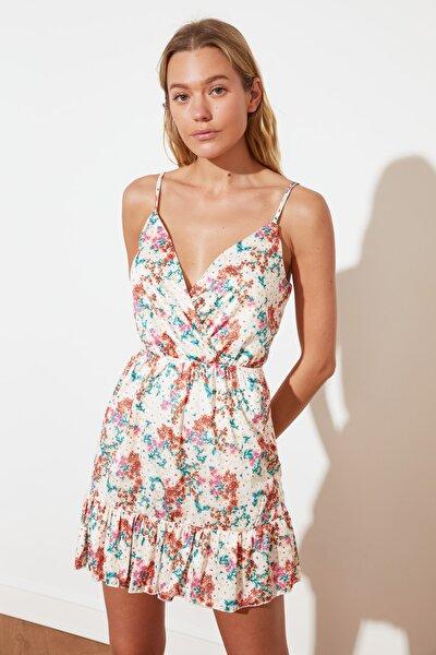 Çok Renkli Baskılı Volan Detaylı Örme Elbise TWOSS21EL2371