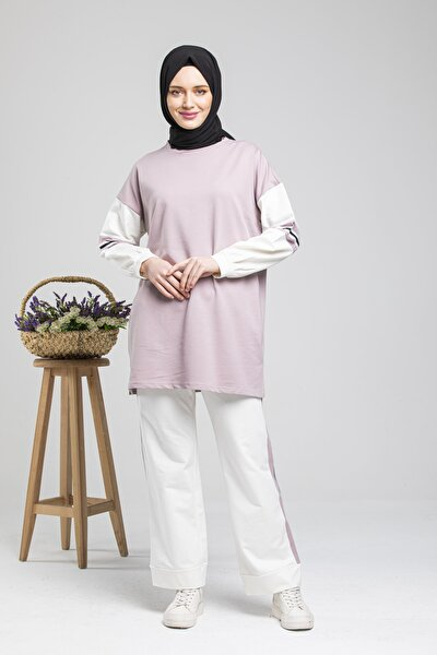 Kadın Pembe Kolları Şeritli Salaş Pantalonlu Takım