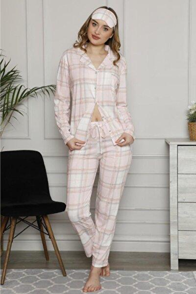 Kadın Pembe Ekose Önden Düğmeli Süprem Penye Pamuklu Pijama Takımı