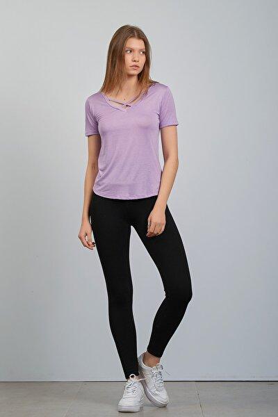 Kadın Lila Önü Çapraz Biyeli Modelli Basic Tshirt
