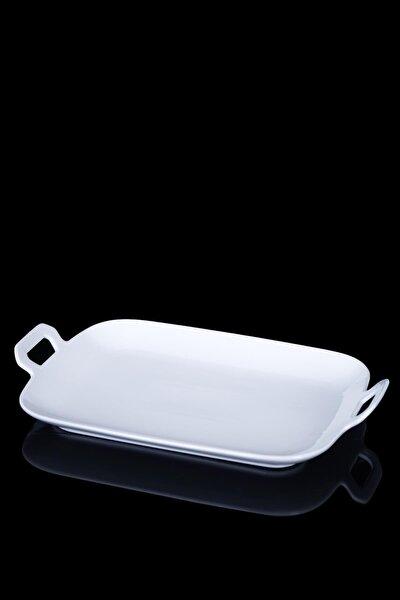Pure White Porselen Dikdörtgen Oval Servis Tabak 33 cm