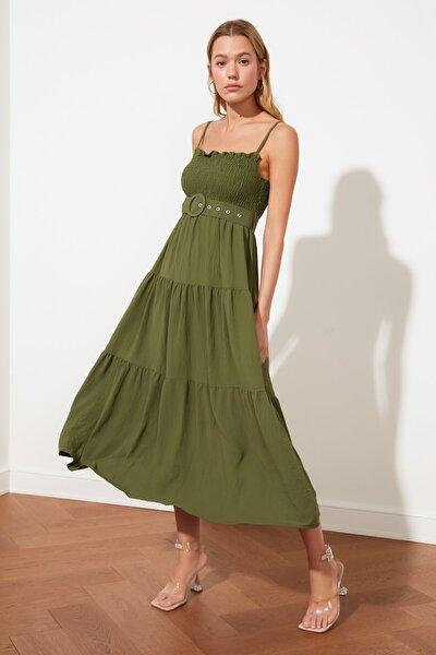 Haki Kemerli Volanlı Elbise TWOSS21EL1929
