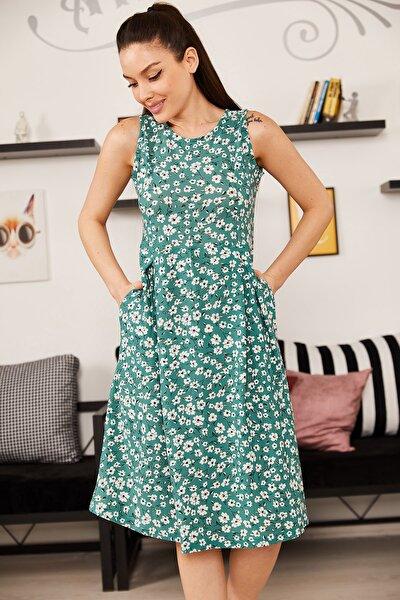 Kadın Yeşil Küçük Çiçekli Kolsuz Midi Boy Elbise ARM-21Y001011