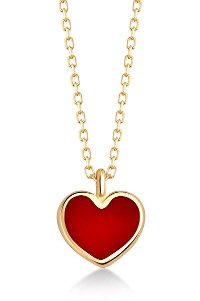 14 Ayar Altın Mini Kırmızı Kalp Kolye