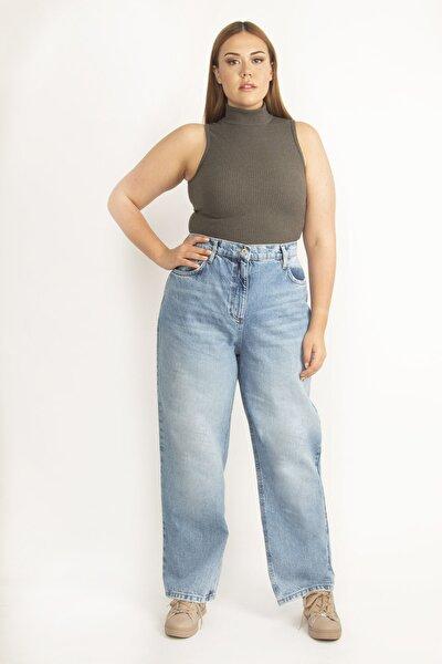 Kadın Mavi Yıkama Efektli Rahat Kesim 5 Cep Kot Pantolon 65N23143