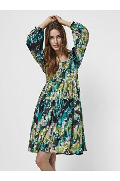 Kadın Siyah Çiçekli Kare Yaka Elbise 10240210 Vmnora
