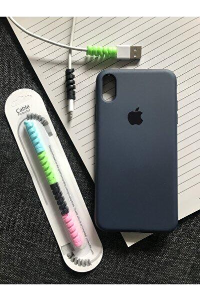 Iphone Xs Max Logolu Lansman Kılıf+kablo Koruyucu