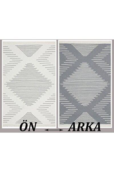 15 Grey %100 Geri Dönüşümlü Pamuktan Çift Taraflı Yıkanabilir Modern Dekoratif Kilim 80 X 300