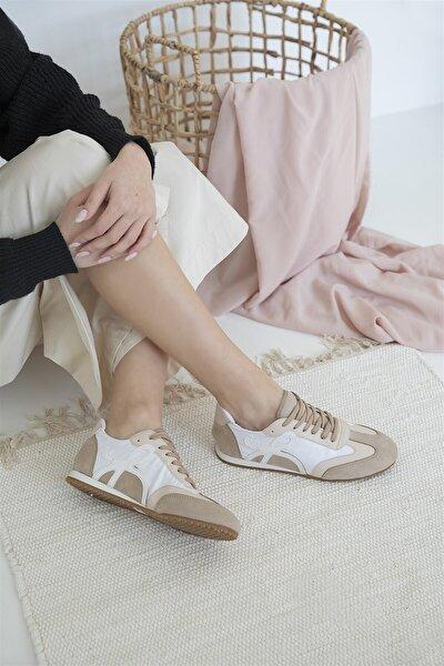 Kadın Beyaz Bej Deri Spor Ayakkabı