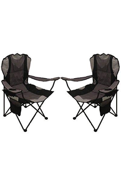Xl Lüks Dolgulu Kamp Sandalyesi Gri 2'li Set