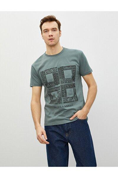 Erkek Yeşil Pamuklu Bisiklet Yaka Kısa Kollu Baskılı T-Shirt