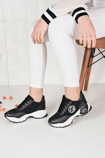 Kadın Siyah Yuvarlak Ml Baskılı Spor Ayakkabı Ba20230