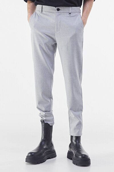 Erkek Gri Özel Dikim Skinny Fit Pantolon