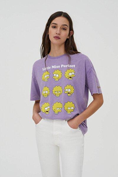 Kadın Mor Lisa Simpson Görselli T-Shirt 04240372