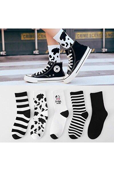 Kadın 5 Çift Siyah Beyaz Inek Desenli Çizgili Tenis Çorabı