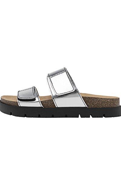 Kadın Gümüş Bantlı Düz Sandalet 19254770