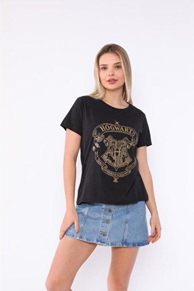 Hogwarts Baskılı Siyah T-shirt