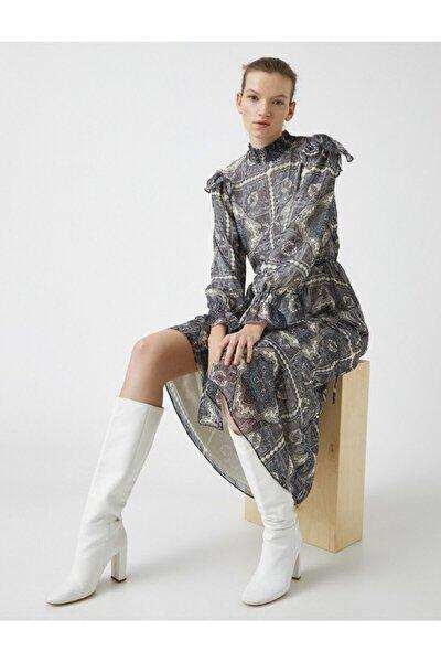 Kadın Lacivert Sal Desenli Sifon Elbise