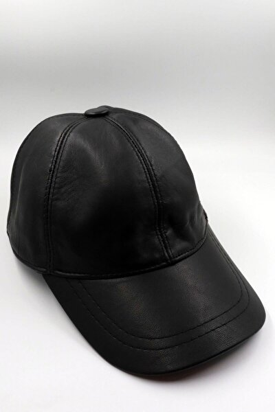 Unisex Siyah Hakiki Deri Şapka