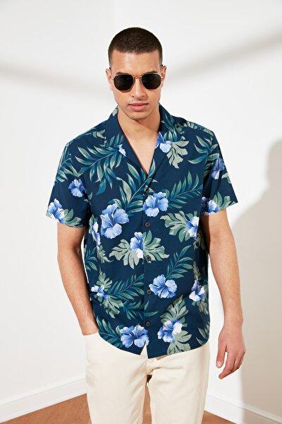 Lacivert Erkek Regular Fit Kısa Kol Apaş Yaka Baskılı Gömlek TMNSS21GO0112
