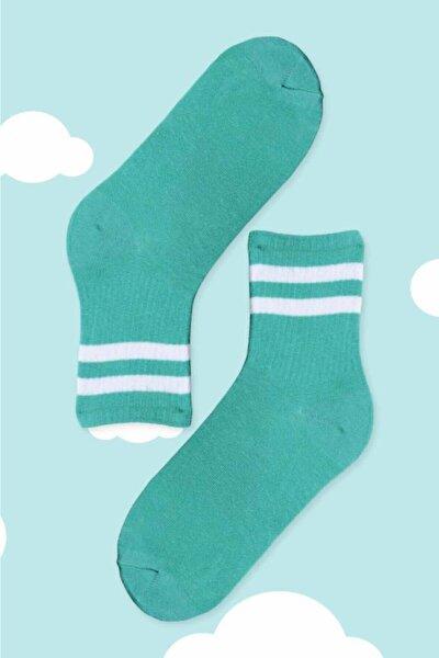 Beyaz Çizgili Yeşil Tenis Soket Çorap