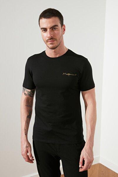Siyah Erkek Basic Slim Fit T-Shirt TMNSS20TS0083
