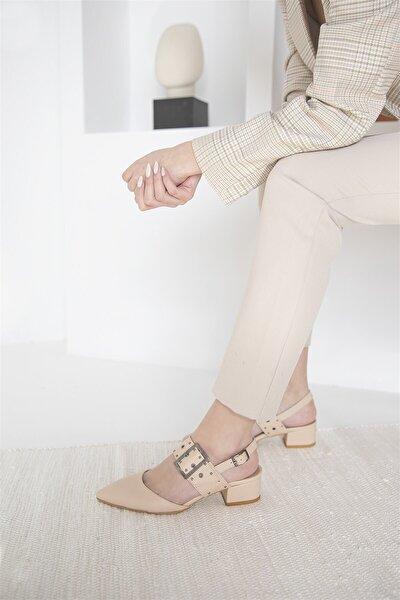Amelia Deri Topuklu Ayakkabı Ten