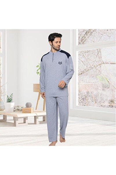 Erkek Düğmeli Büyük Beden Pijama Takımı 3xl 4xl 5xl 2788