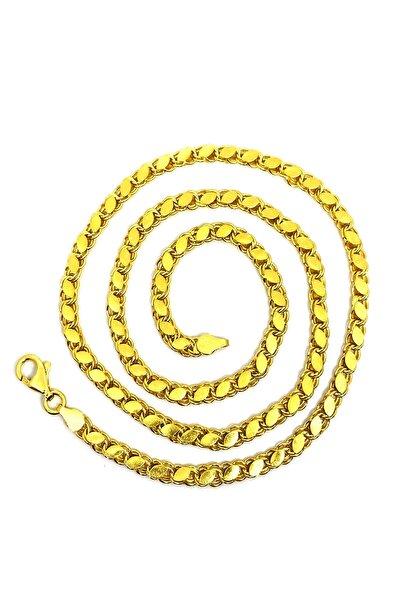 925 Ayar Gümüş Altın(gold) Kaplama Pullu(halep) Model 50cm Kadın Zincir