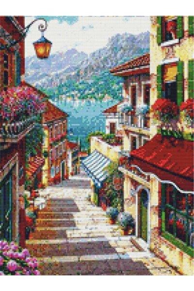 Sanat Sahil'e Giden Dar Italyan Sokağı Elmas Mozaik Tablo / Mozaik Puzzle 35 X 45cm E20201342m