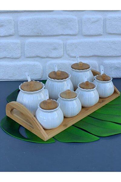 Papatya Baharatlık Bambu Standlı Porselen Kaşıklı