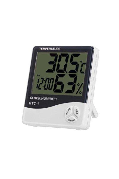 Dijital Termometre Saat Isı Sıcaklık Nem Ölçer Htc 1