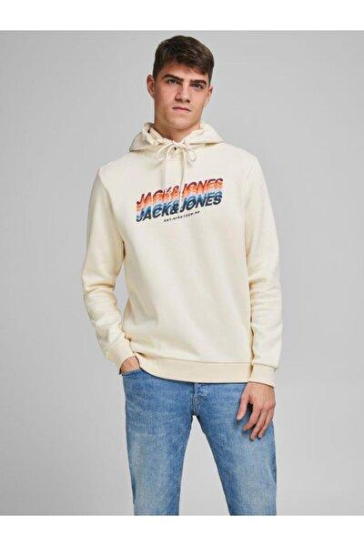 Erkek Bej Loopback Logo Kapüşonlu Sweatshirt