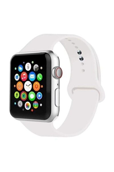 Beyaz Apple Watch Uyumlu 38 mm 40 mm Silikon Kordon