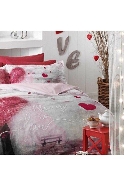 Always In Love 4 Yastıklı Çift Kişilik %100 Pamuk Nevresim Takımı Kırmızı