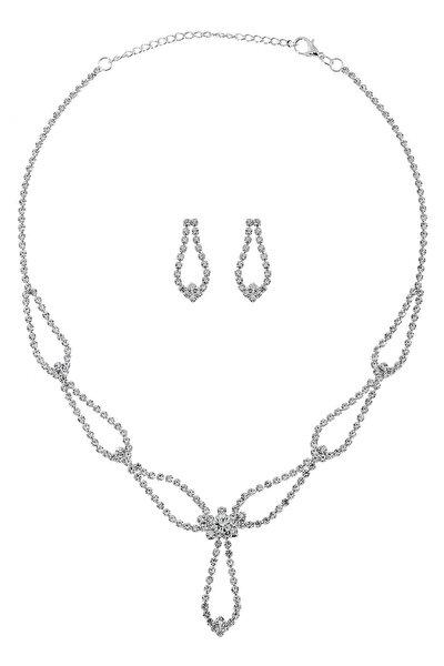 Gümüş Kaplama Kristal Taşlı Set Takım